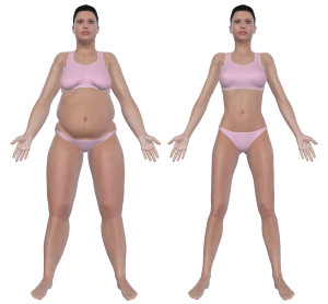 Before and after front view illustration of a overweight female and a healthy weight female after dieting and exercising. Isolated on a solid white background.